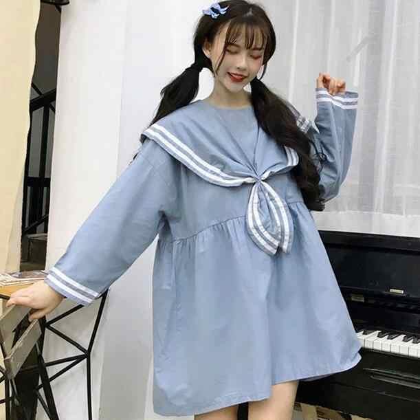 Japanese Mori Girl Women Cute Mini Dress Sailor Collar Black Blue Oversized Uniform Kawaii Preppy Style Tie Cosplay Dress DC683