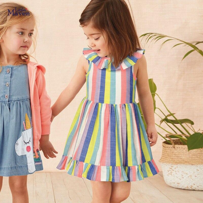 Little Maven 2020 Dress Rainbow Colorful Girls Party Dresses For Kids Clothes Cotton Little Toddler Princess Dresses Vestido