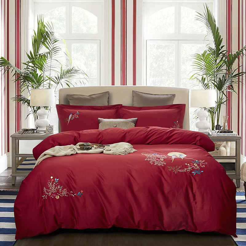Manufacturers Direct Selling 60 Xinjiang Long-staple Cotton Four-piece Set-Style Embroidered Cotton Satin Sheet Villa Hotel Pure
