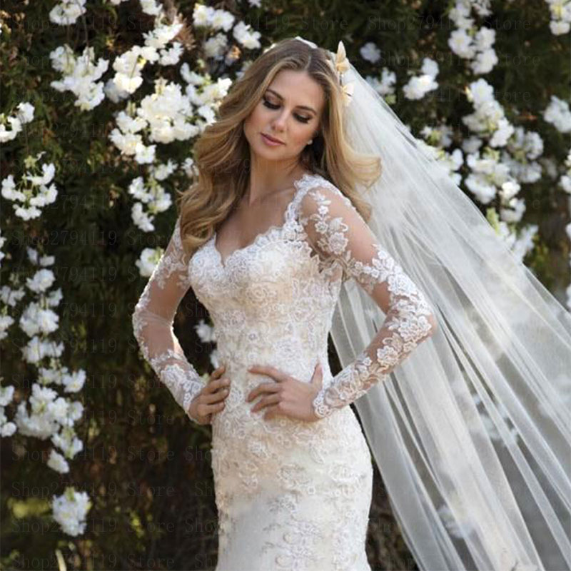 2019 Elegant Wedding Dress Long Sleeve Customise Sexy V Neck Vestido De Noiva Zipper Back Mermaid Robe De Mariee Plus Size Dress