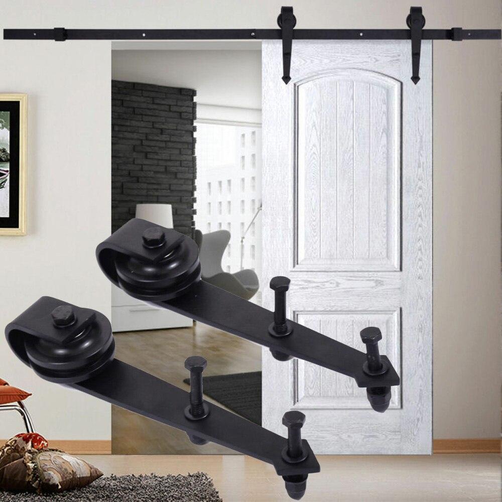 2pcs Double porte coulissante grange rails en acier au carbone Rail Kit montage mural noir roue coulissante outil pièces accessoires
