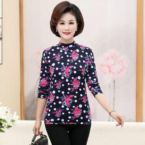 Женская блузка с цветочным принтом среднего возраста, приталенная блузка с длинным рукавом и коротким воротником размера плюс, красная, син...