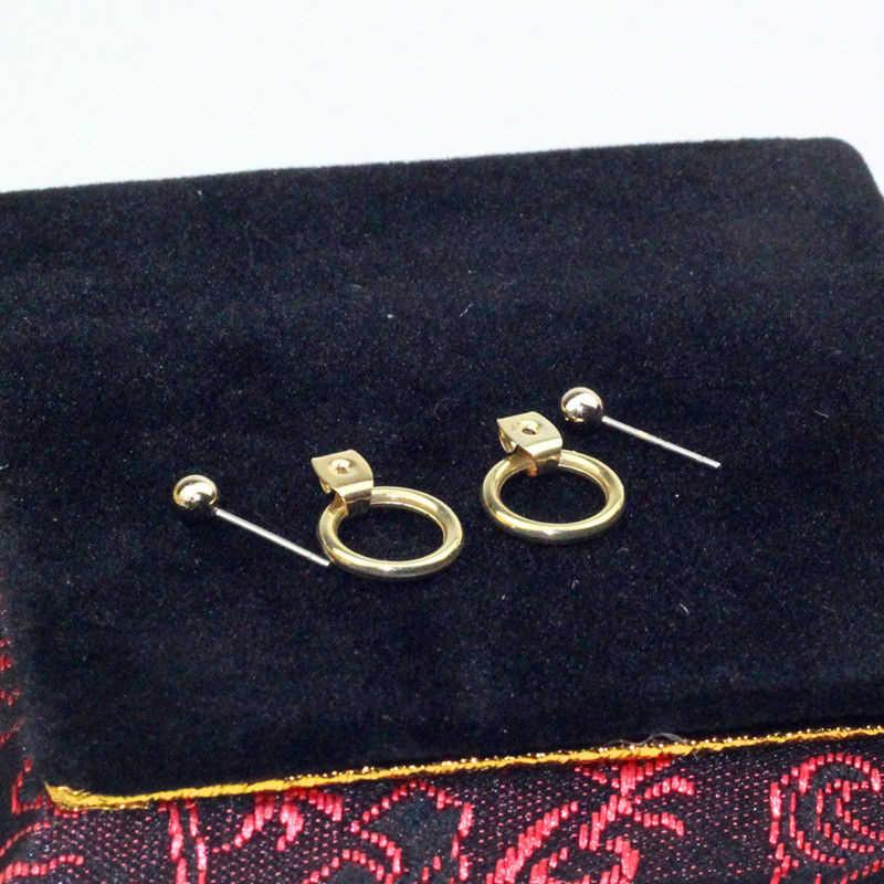 CARTER LISA แฟชั่นเครื่องประดับทอง/เงินน่ารักเรขาคณิตสีทองขนาดเล็กวงกลมโลหะสตั๊ดต่างหูของขวัญผู้หญิงสาว