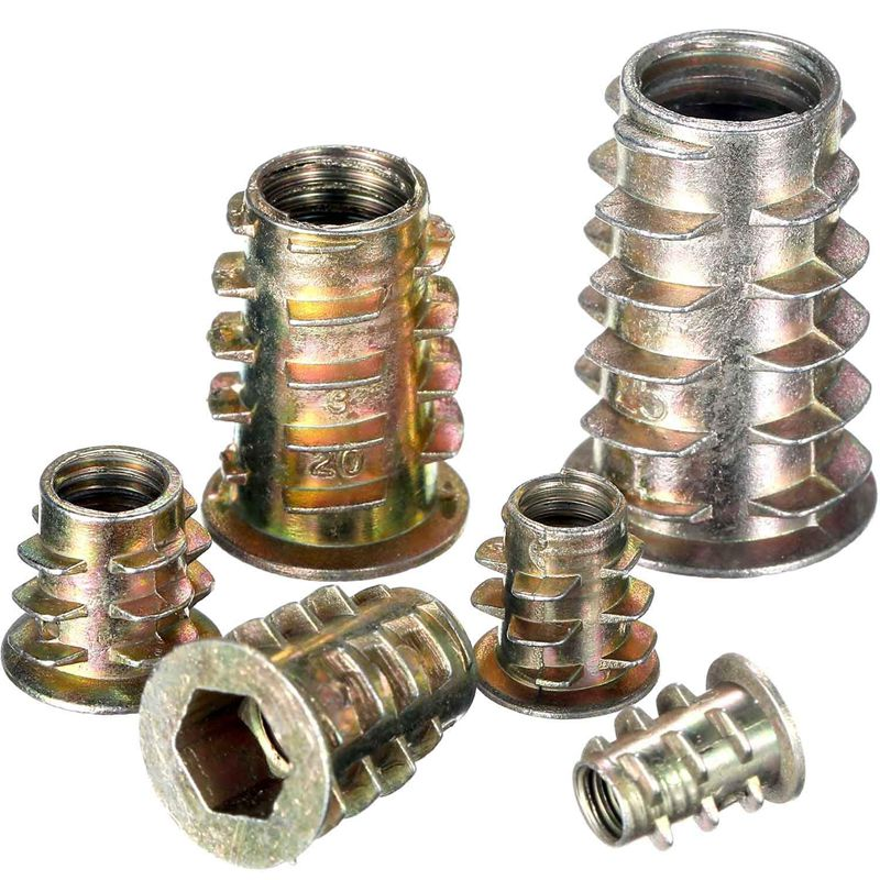 100 Pieces M4// M5// M6// M8// M10 Zinc Alloy Furniture Hex Socket Screw Inserts Threaded Insert Nuts Assortment Tool Kit for Wood F