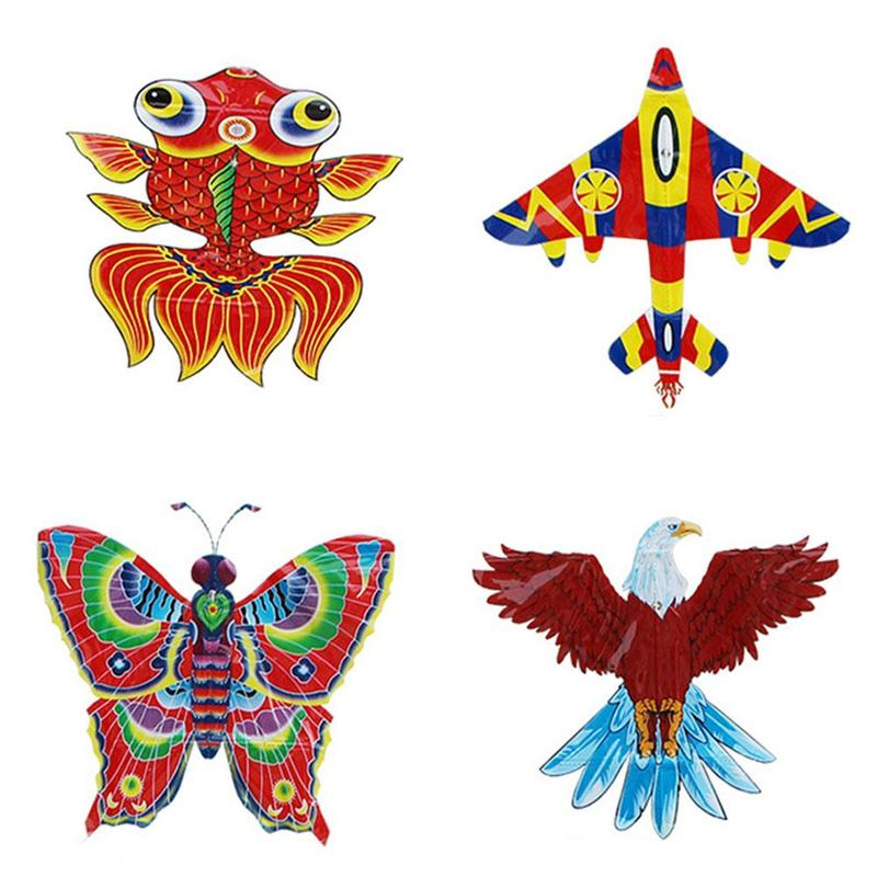 Outdoor Triangle Kite Bar Without Line Durable Rainproof Butterfly Bee Eagle Goldfish Flying Kite Children Kids Fun Sports Toy