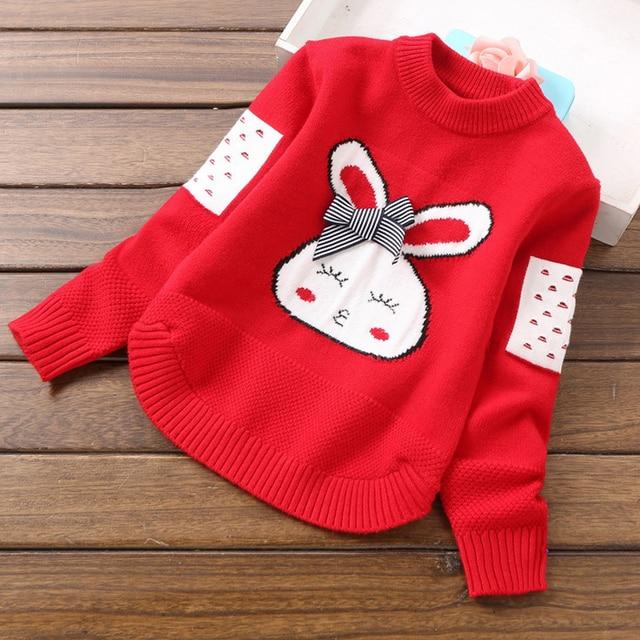Вязаные свитера для девочек, пуловеры, топы, милая вязаная рубашка с мультяшным Кроликом, верхняя одежда для маленьких девочек, Детский свитер, пальто, детская трикотажная одежда
