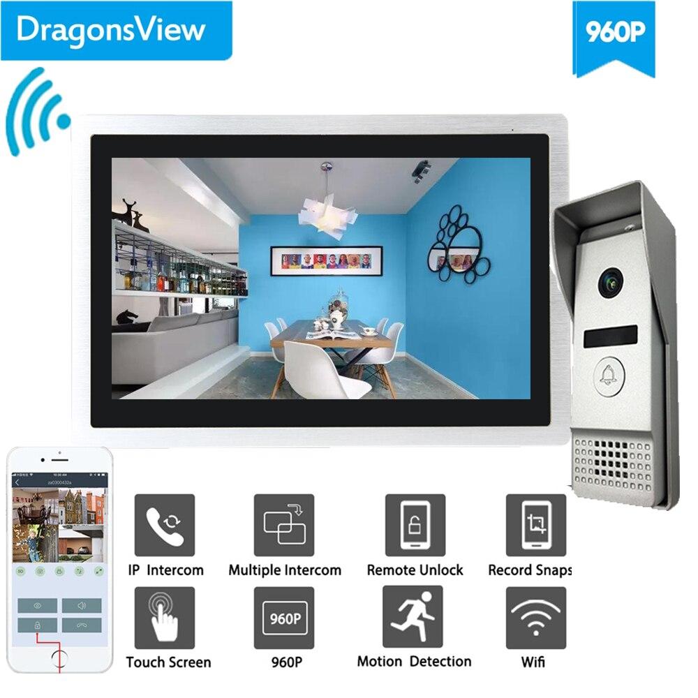 Dragonsview wi fi vídeo campainha com monitor ip sistema de intercomunicação telefone da porta vídeo grande angular da tela toque gravação detecção movimento - 2