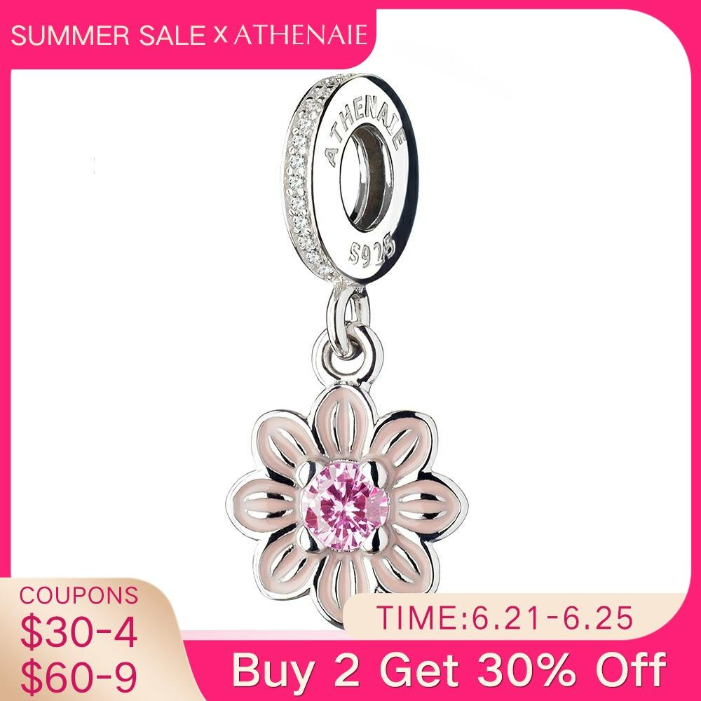 ATHENAIE 925 Sterling Silver Romantic Pink Enamel Poetic Bloom Pendants with CZ Birthstone Dangle Charm Beads Fit Bracelets
