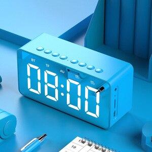 Image 4 - Портативная Bluetooth колонка с супербасами, беспроводной сабвуфер, Стереодинамик с поддержкой TF, AUX, зеркальный будильник для телефона, компьютера