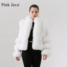 الوردي جافا QC19044 جديد وصول الساخن بيع النساء الشتاء الثعلب الحقيقي الفراء معطف ريكس الأرنب الفراء سترة النقي معطف أبيض الصينية نمط