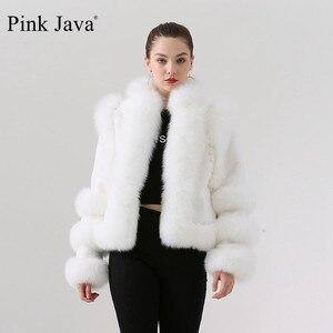 Image 1 - الوردي جافا QC19044 جديد وصول الساخن بيع النساء الشتاء الثعلب الحقيقي الفراء معطف ريكس الأرنب الفراء سترة النقي معطف أبيض الصينية نمط