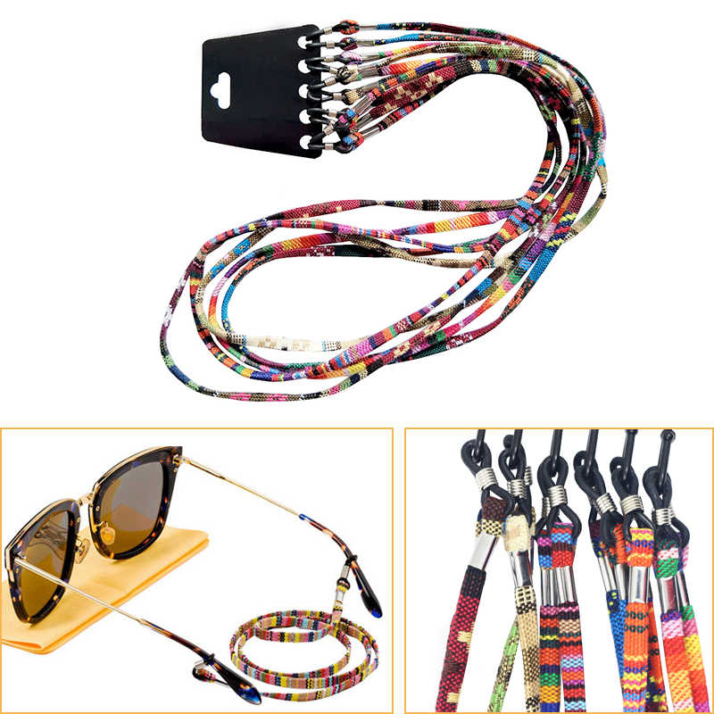 5Pcs Colorful Cotton Blend Sunglasses Strap Eyeglass Chain Reading Glasses Chain String Holder Neck Cord Eyewear Glass Necklace