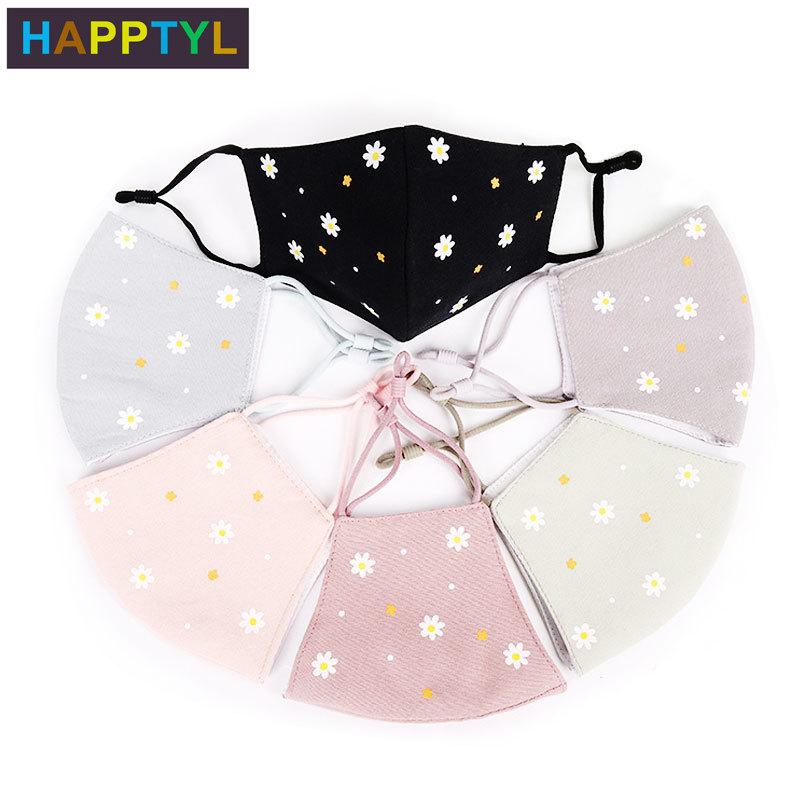 HAPPTYL Fashion Petal Dust Allergy Flu Masks Washable Breath Healthy Safety Respirator Face Mouth Masks For Girls And Woman Kids