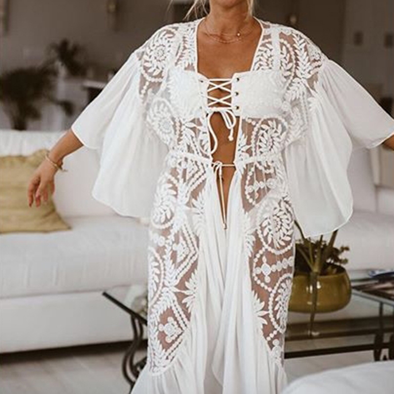 Image 2 - New Sexy Lace Beach Cover up Chiffon Patchwork Women Causal Summer Beachwear White Bikini Cover up Kaftans Beach Tunic PareosCover-up   -