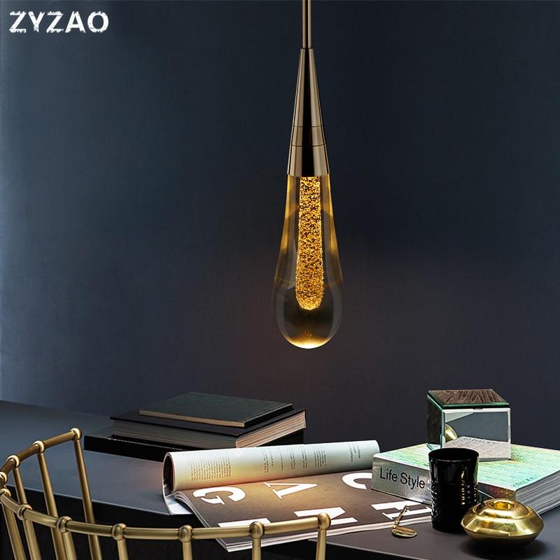 Designer Water Drop LED Pendant Lights Restaurant Dining Room Bar Simple Crystal Galss Hanging Lamp Creative Cafe Bedside Lamps
