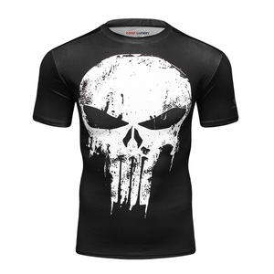Image 1 - 2019 המעניש Mens T חולצה דחיסת חולצה 3D מודפס T חולצות גברים קרוע קצר שרוול כושר חולצות קודי LUNDIN