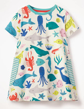 2019 Summer Girls Dresses Cute Cotton Short Sleeve Animal Baby Clothes T-shirt Children Birthday Party Dress For Kids Infant цена
