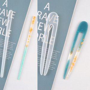 Прозрачные формы для шпильки для волос, 3 шт., силиконовые формы, Шпилька для волос, форма для отливки эпоксидной смолы, изготовление ювелирн...