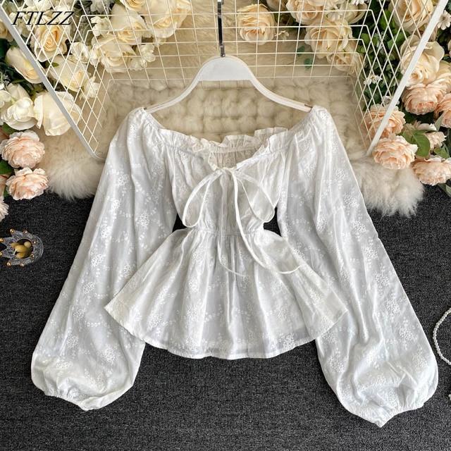 New Autumn Sweet Lady Puff Sleeve Ruffled Shirt Sexy Slash Neck Off Shoulder Solid Shirt Top