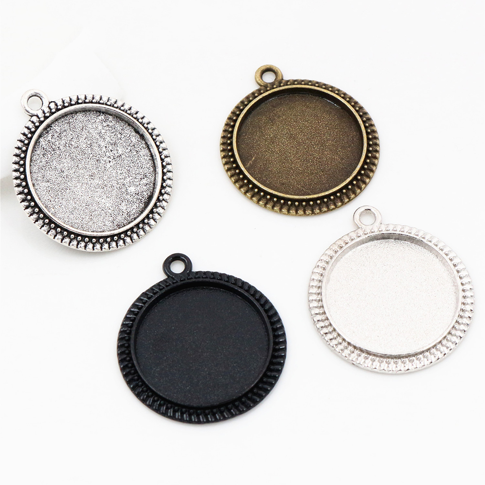 10pcs 20mm Inner Size Antique Silver Plated And Bronze And Rhodium And Black Classic Style Cabochon Base Setting Charms Pendant
