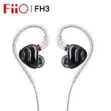 Fiio fh3 2ba + 1dd knowles berílio-banhado dinâmico híbrido driver in-ear fone de ouvido iem s. turbo design acústico escudo liga mmcx