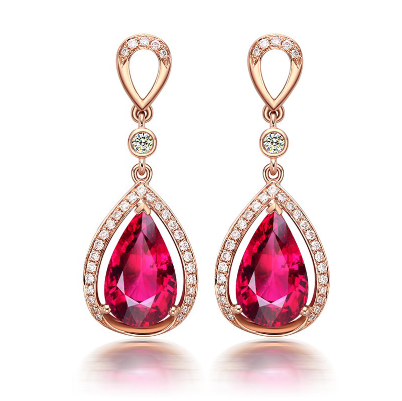 Rose Gold Crystal Red Pink Waterdrop Dangle Earrings for Women