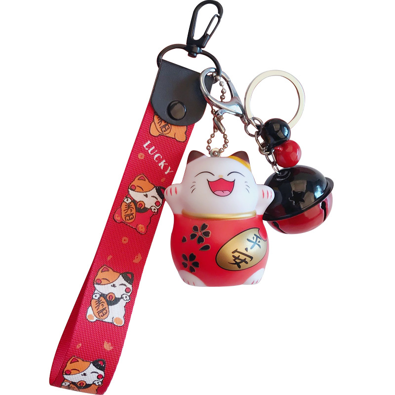 Creative cute cat plastic key chain pendant cartoon lucky doll bell bag