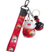 Creative cute cat plastic key chain pendant cartoon lucky doll bell bag