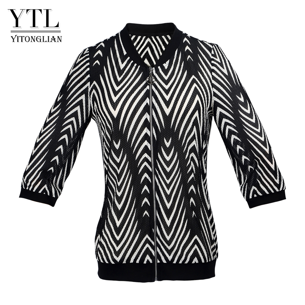YTL Unique Pattern Three-quarter Sleeve Jacket Women's Outfit Spring Vintage Striped Outer Wearing W002