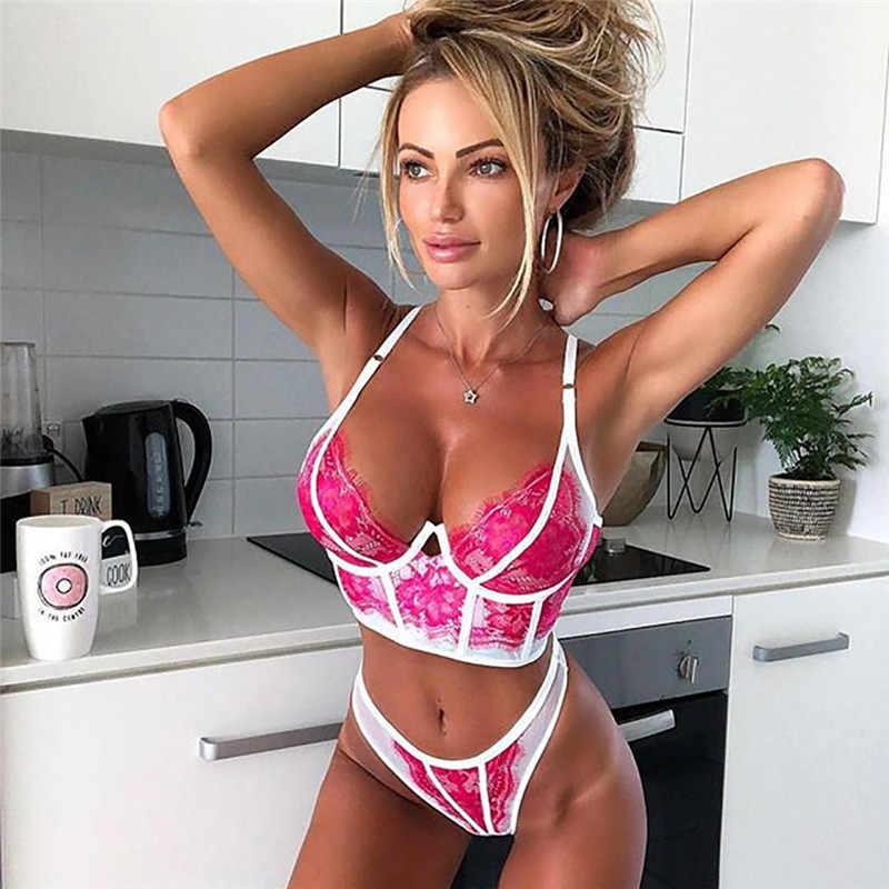 נשים סקסי הלבשה תחתונה סט לאסוף חזיית סטי פרחוני תחרת bralette קמטים Underwire חזייה תחרה תחתונים תחתונים לדחוף את חזיות BH