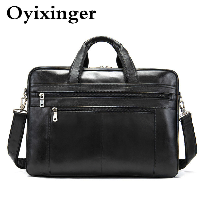 Luxury Men's Black Briefcases Natural Cowhide Handbags Tote Man Crossbody Shoulder Bags Genuine Leather Handbag Bandolera Hombre