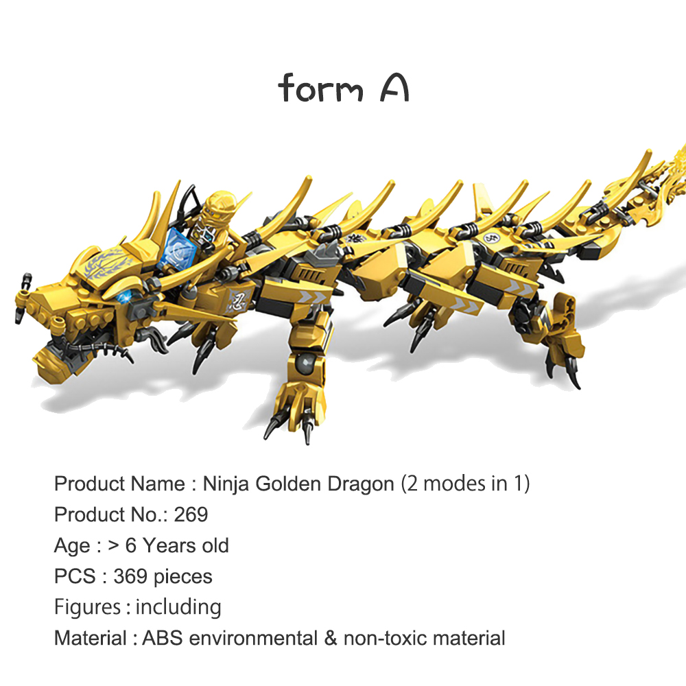 Image 2 - Compatible Ninjagoed Ninja Golden Dragon Mech Creator Dragon 2 in 1 Set DIY Educational Gift Building Blocks Toys For ChildrenBlocks   -