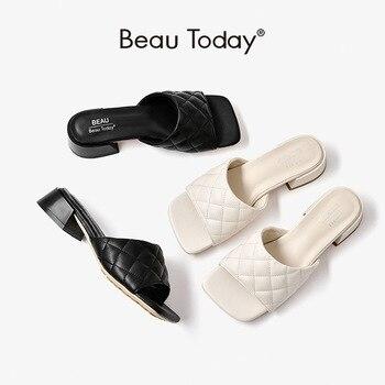 BeauToday Summer Slippers Women PU Diamond Square Peep Toe Mules Fashion Ladies Outdoor Slides Flat Shoes Handmade 35069