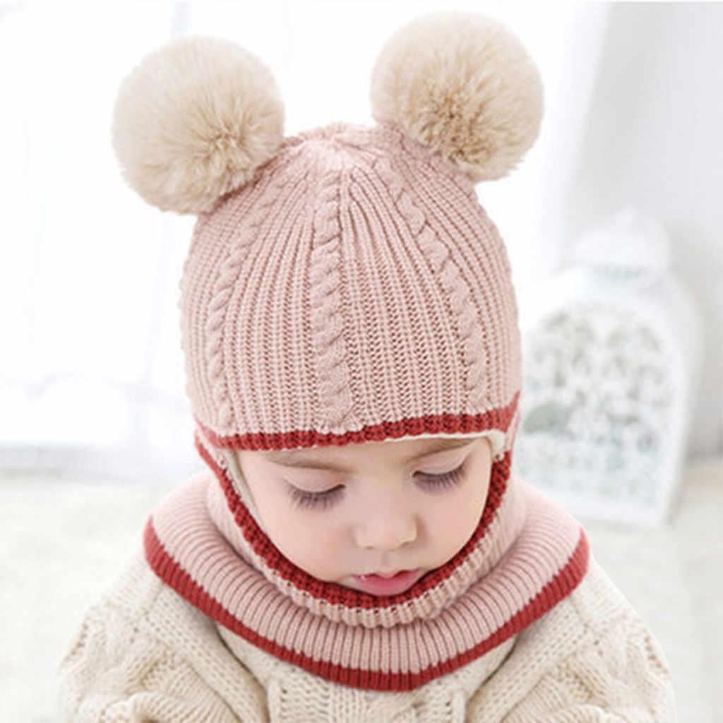 ขายร้อนเด็กอบอุ่น bib เด็กถักหมวกเด็กวัยหัดเดินเด็กทารกเด็กผู้หญิง Pompon หมวกฤดูหนาวที่อบอุ่นถักโครเชต์หมวกผ้าพันคอ