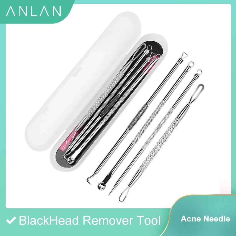4Pcs BlackHead Remover Tool Acne Needle Blemish Pimple Spot Blackhead Extractor Remover Tool Pore Cleaner Face Cleansing Tools