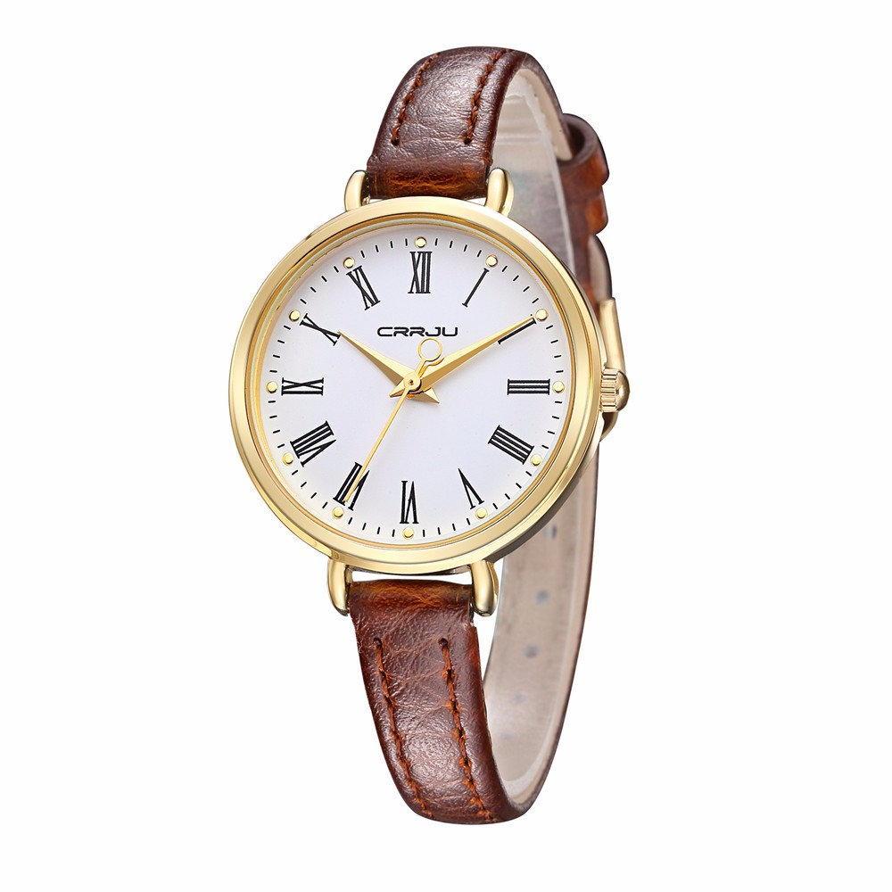 Fashion Elegant Simple Style Leather Strap Women Quartz Wristwatch CRRJU Top Luxury Brand High Quality Waterproof Watch Relogio