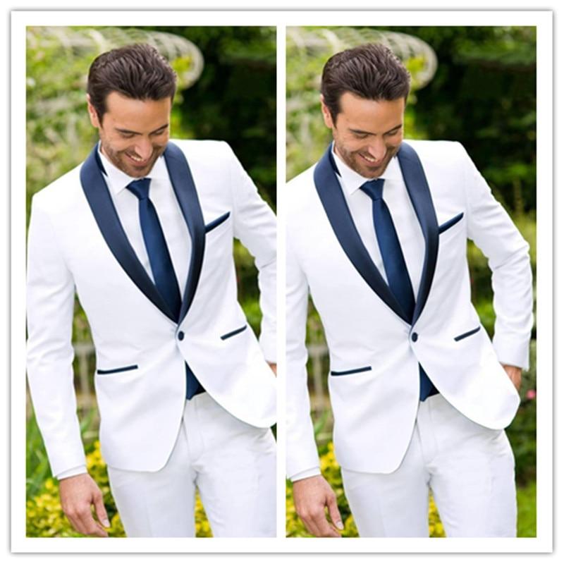 Latest Classic Design White Groom Tuxedos Groomsmen Best Man Suit Mens Wedding Suits Bridegroom Business Suits (Jacket+Pants)