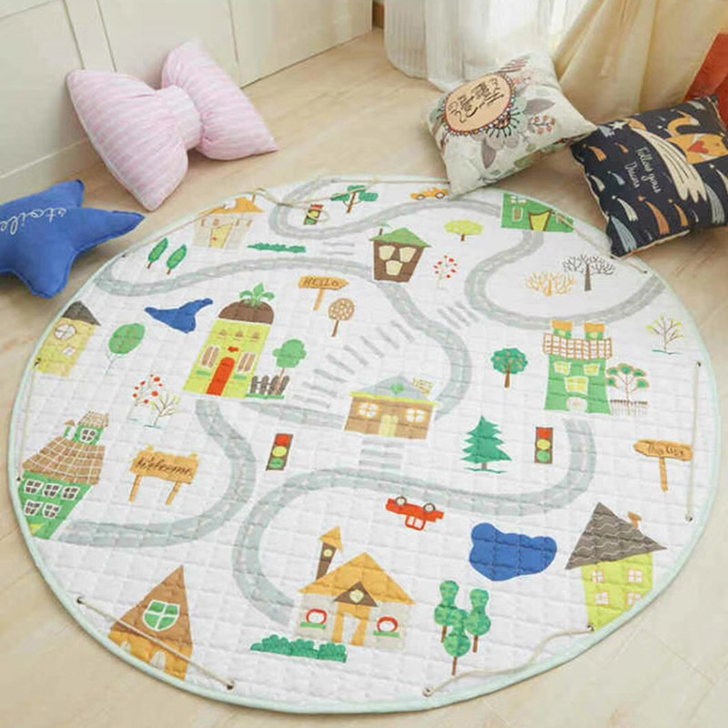 Hecbbd40d58b6458eaf360ec597dcbe7eh Kid Soft Carpet Rugs Cartoon Animals Fox Baby Play Mats Child Crawling Blanket Carpet Toys Storage Bag Kids Room Decoration