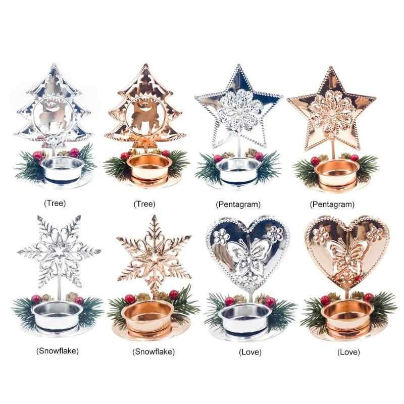 Sostenedor de vela de Navidad Mental vela escritorio decoración del hogar regalo ornamento Fondo candelabro decoraciones