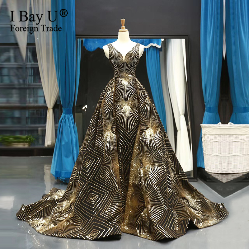 Luxury Gold Black Sequined Bling Bling Muslim Evening Dresses 2020 V Neck A-Line Overskirt Sexy Evening Gowns Formal Party Dress