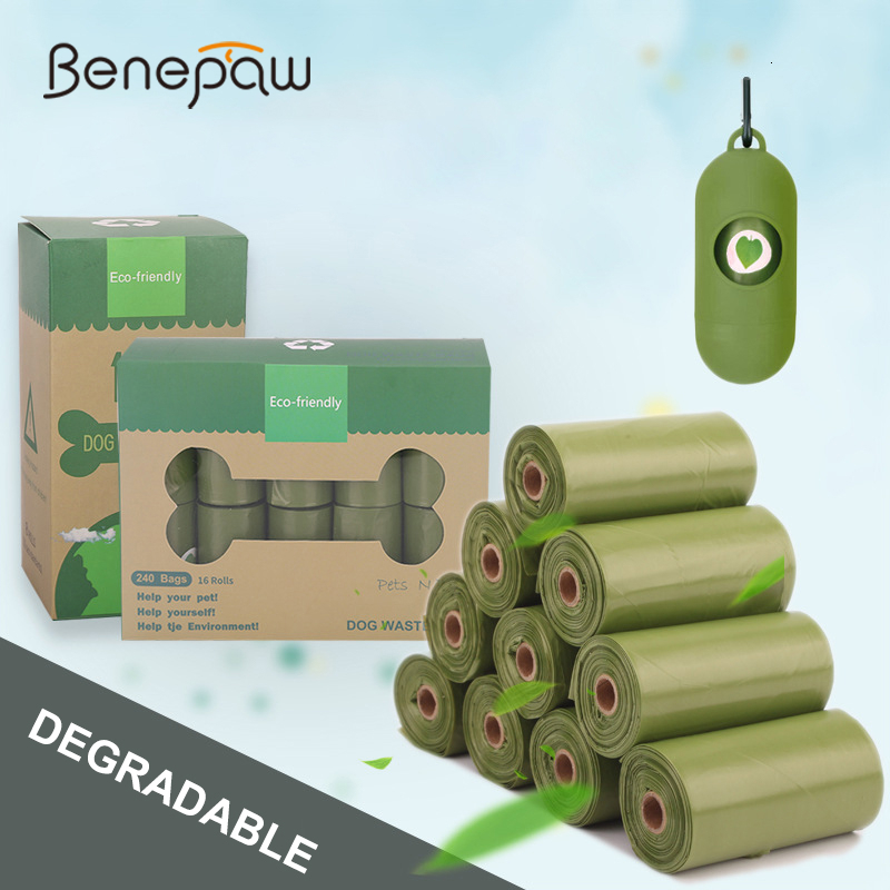 Benepaw Biodegradable Dog Poop Bag Durable Pet Shit Garbage Bags Waste Puppy Free Dispenser Easy To Tear Off 120pcs/240pcs