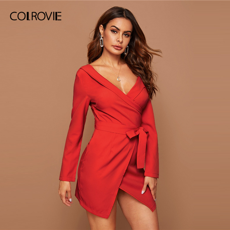COLROVIE Bright Red Asymmetrical Neck Belted Wrap Dress Women Solid Long Sleeve Mini Dress 2020 Spring Sexy High Waist Dresses 3