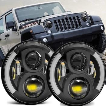 2pcs Halo 7Inch Led Headlight Black For Jeep CJ Wrangler JK TJ Accessories Black Front Car Lights For Lada Niva 4X4 Hummer H1 H2 1