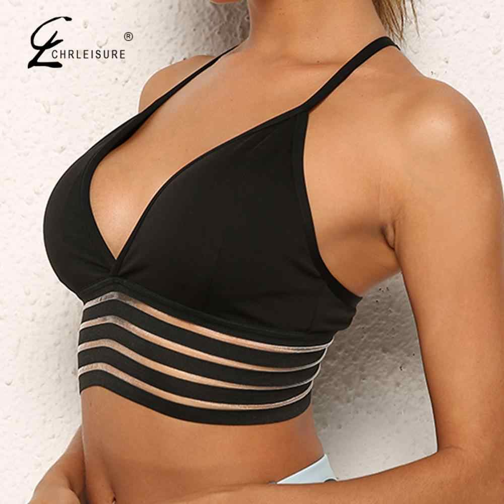 Sexy V-neck Push Up Fitness Bra For Women Solid Workout Brathable Seamless Underwear Backless Stick Bras