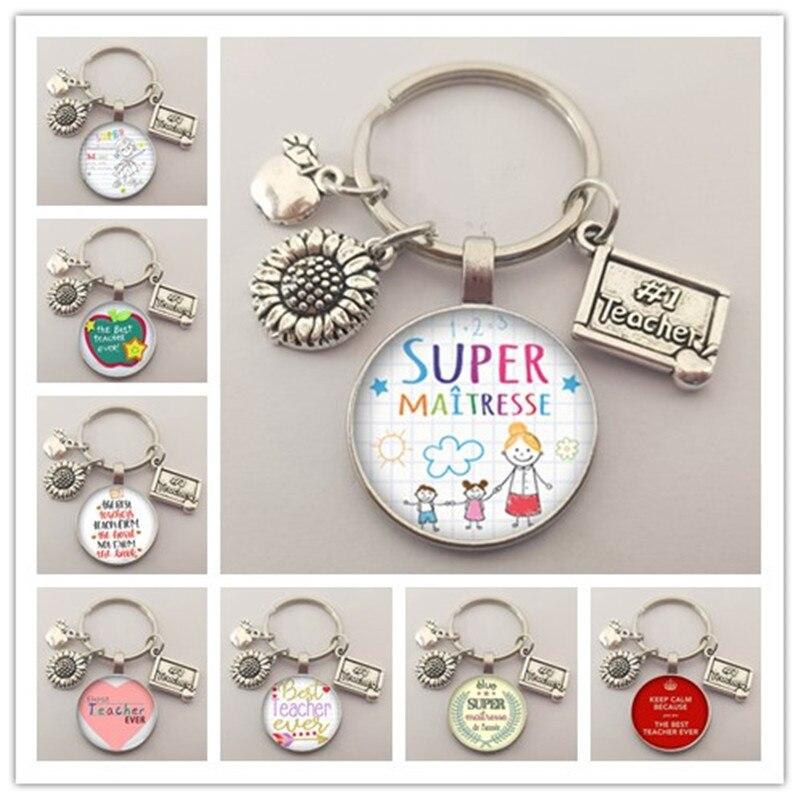 New teachers day gift keychain jewelry thank you teacher cute pattern pendant glass round charm bag keychain souvenir