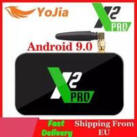 Tüketici Elektroniği'ten Set Üskü Kutuları'de X2 Pro TV kutusu Android 9.0 4K akıllı medya oynatıcısı X2 küp 2G 16G Amlogic S905X2 2.4/5GHz WiFi 1000M Bluetooth 4GB 32GB Set üstü kutu