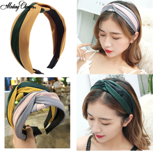 2019New Knot Stripe Hair Bezel Contrast Cross Hairbands Headband Patchwork Hair Hoop For Women Girls Fashion Hair Accessories contrast stripe knot tee
