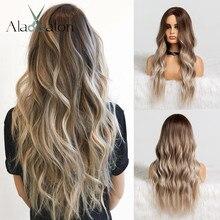 アランイートンオンブル茶色灰グレー中部ロング波状のかつら高温ナチュラルヘアウェーブ合成かつらコスプレ偽髪