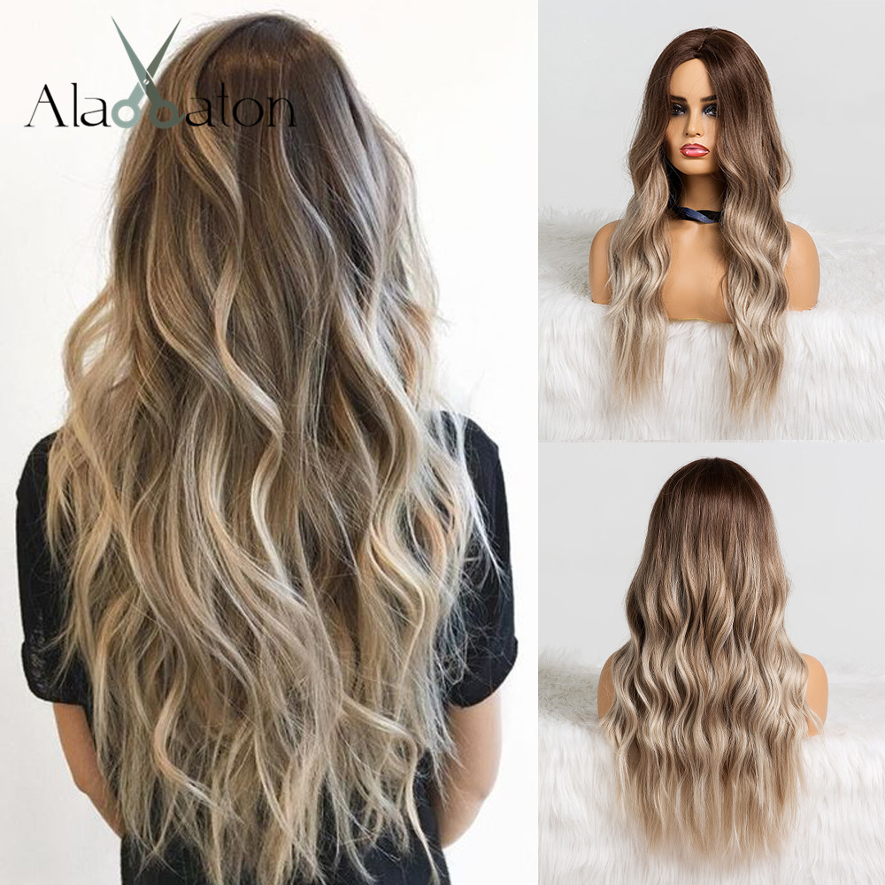 ALAN EATON Ombre Brown Ash Gray Middle Part Long Wavy Wigs High Temperature Natural Hair Wave Synthetic Wig Cosplay Fake Hair