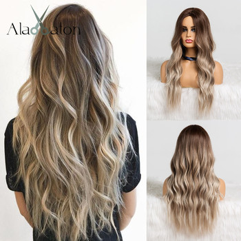 ALAN EATON Ombre Brown Ash Gray Middle Part Long Wavy Wigs High Temperature Natural Hair Wave Synthetic Wig Cosplay Fake Hair wignee 2 tone ombre brown ash blonde synthetic wig for women middle part short straight hair high temperature cosplay hair wigs